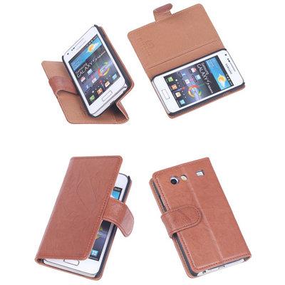 BestCases Bruin Echt Leer Booktype Hoesje voor Samsung Galaxy S Advance i9070