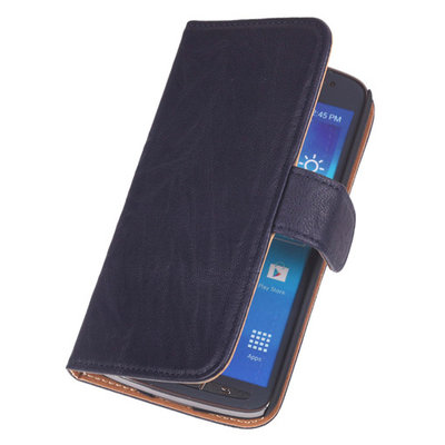 BestCases Navy Blue Echt Leer Booktype Hoesje voor Samsung Galaxy Ace Plus S7500