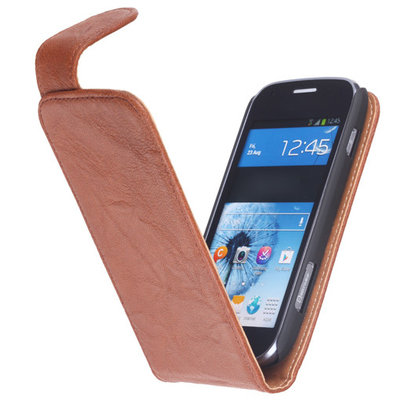 BestCases Bruin Kreukelleer Flipcase Hoesje voor HTC One Mini M4