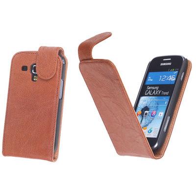 BestCases Bruin Kreukelleer Flipcase Samsung Galaxy S Duos S7562