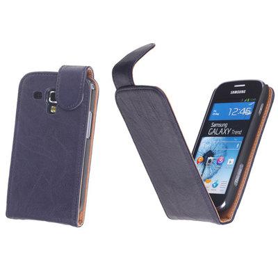 BestCases Navy Blue Kreukelleer Flipcase Hoesje voor Samsung Galaxy S Duos S7562