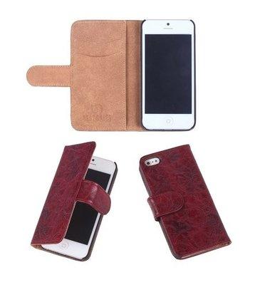Eco-Leather Bordeaux Bookcase Hoesje voor Apple iPhone 5 5S
