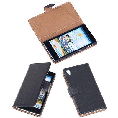 BestCases Navy Blue Luxe Echt Lederen Booktype Hoesje voor Sony Xperia Z1