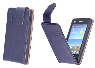 BestCases Navy Blue Kreukelleer Flipcase Hoesje voor Huawei Ascend Y300