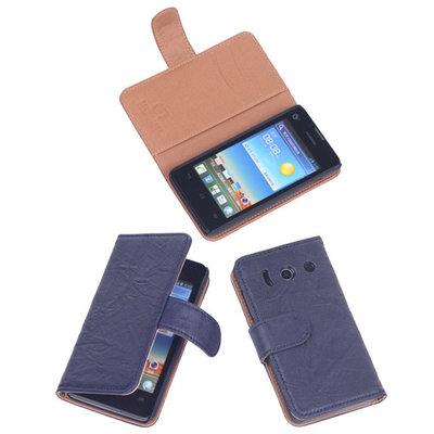 BestCases Navy Blue Luxe Echt Lederen Booktype Hoesje voor Huawei Ascend Y300