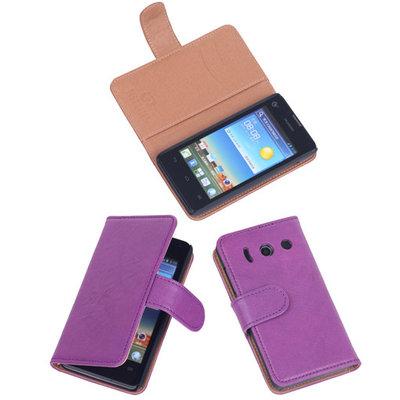 BestCases Lila Luxe Echt Lederen Booktype Hoesje voor Huawei Ascend Y300