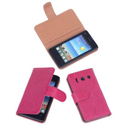 BestCases Fuchsia Luxe Echt Lederen Booktype Hoesje voor Huawei Ascend Y300