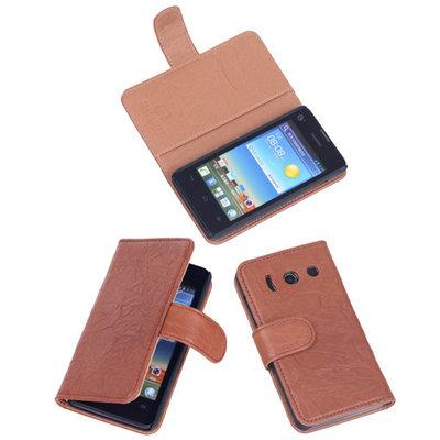 BestCases Bruin Luxe Echt Lederen Booktype Hoesje voor Huawei Ascend Y300