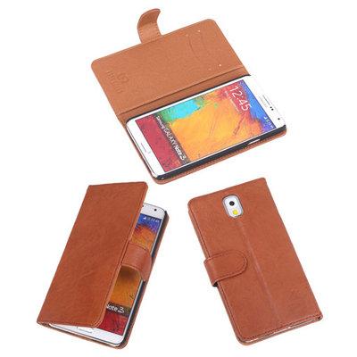 BestCases Bruin Echt Leer Booktype Hoesje voor Samsung Galaxy Note 3 N9000