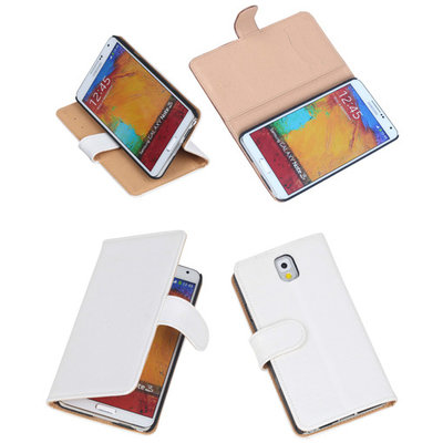 Bestcases Vintage Creme Book Cover Hoesje voor Samsung Galaxy Note 3