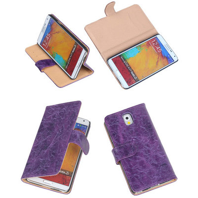 Bestcases Vintage Lila Book Cover Hoesje voor Samsung Galaxy Note 3