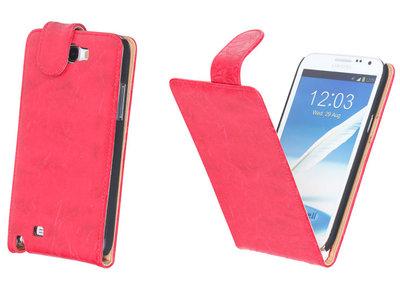 Bestcases Vintage Rood Flipcase Hoesje voor Samsung Galaxy Note 2 N7100