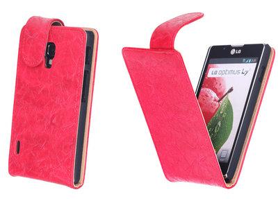 Bestcases Vintage Rood Flipcase Hoesje voor LG Optimus L7 2 P710