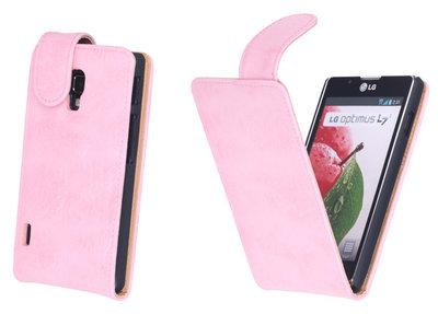 Bestcases Vintage Light Pink Flipcase Hoesje voor LG Optimus L7 2 P710