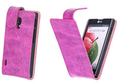 Bestcases Vintage Pink Flipcase Hoesje voor LG Optimus L7 2 P710