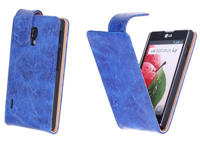 Bestcases Vintage Blauw Flipcase Hoesje voor LG Optimus L7 2 P710