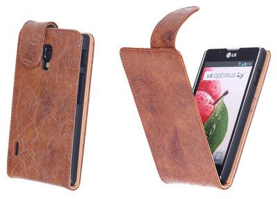 Bestcases Vintage Bruin Flipcase Hoesje voor LG Optimus L7 2 P710