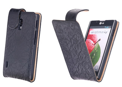 Bestcases Vintage Zwart Flipcase Hoesje voor LG Optimus L7 2 P710