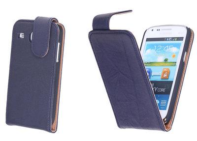 BestCases Navy Blue Kreukelleer Flipcase Hoesje voor Samsung Galaxy Core i8260