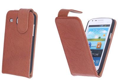 BestCases Bruin Kreukelleer Flipcase Hoesje voor Samsung Galaxy Core i8260