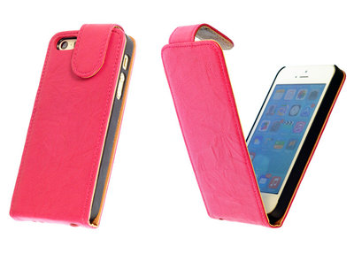 BestCases Fuchsia Kreukelleer Flipcase Apple iPhone 5 5S