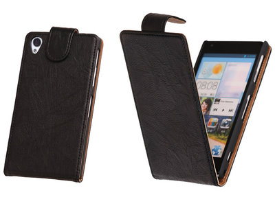 BestCases Zwart Kreukelleer Flipcase Hoesje voor Sony Xperia Z1