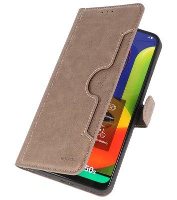 Luxe Portemonnee Hoesje voor Samsung Galaxy A50 Grijs