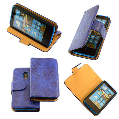 Bestcases Vintage Blauw Bookstyle Cover Hoesje voor Nokia Lumia 620