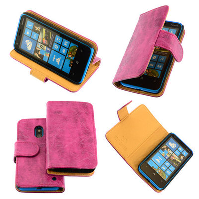 Bestcases Vintage Pink Bookstyle Cover Hoesje voor Nokia Lumia 620
