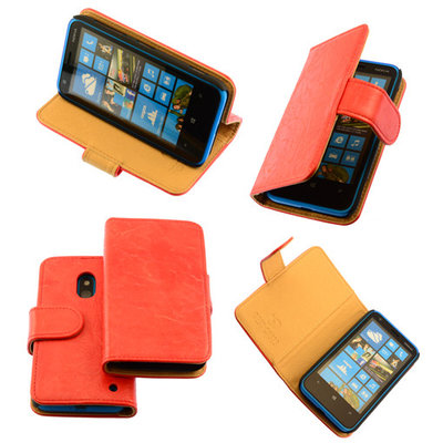 Bestcases Vintage Oranje Bookstyle Cover Hoesje voor Nokia Lumia 620