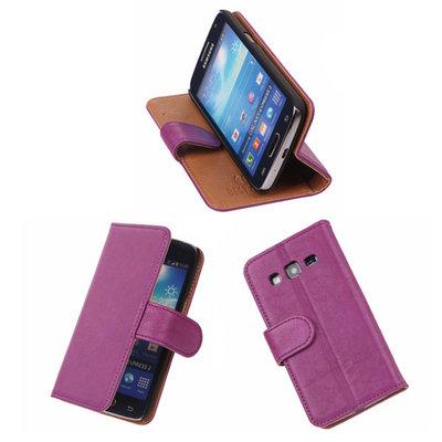 BestCases Lila Luxe Echt Lederen Booktype Hoesje voor Samsung Galaxy Express 2
