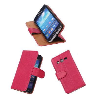BestCases Fuchsia Luxe Echt Lederen Booktype Hoesje voor Samsung Galaxy Express 2