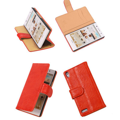 Bestcases Vintage Oranje Book Cover Hoesje voor Huawei Ascend P6