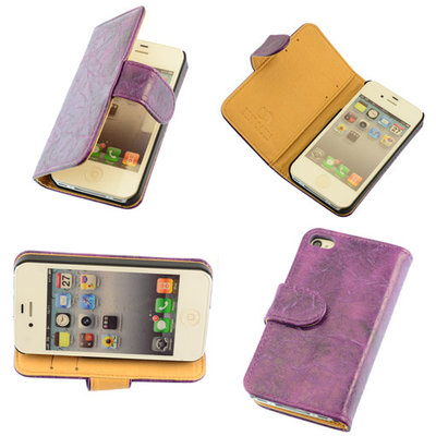 Bestcases Vintage Lila Book Cover Apple iPhone 4 4S