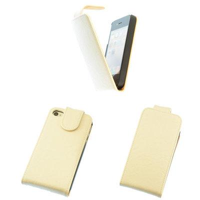Eco-Leather Flipcase Hoesje voor Apple iPhone 4 4S Creme