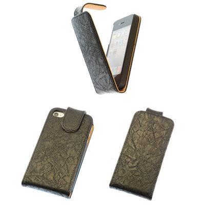 Eco-Leather Flipcase Hoesje voor Apple iPhone 4 4S Zwart