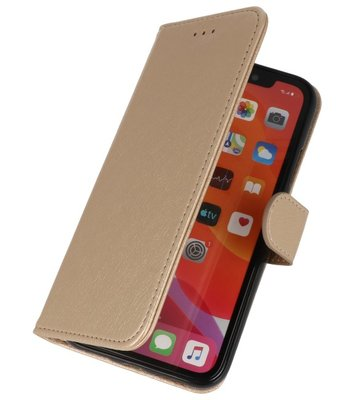 Bookstyle Wallet Cases Hoes voor iPhone 11 Pro Goud
