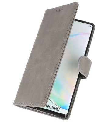 Bookstyle Wallet Cases Hoes voor Samsung Galaxy Note 10 Grijs