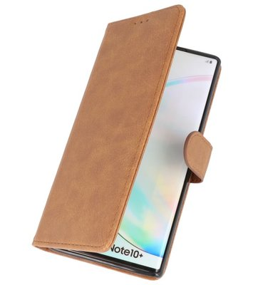 Bookstyle Wallet Cases Hoes voor Samsung Galaxy Note 10 Plus Bruin