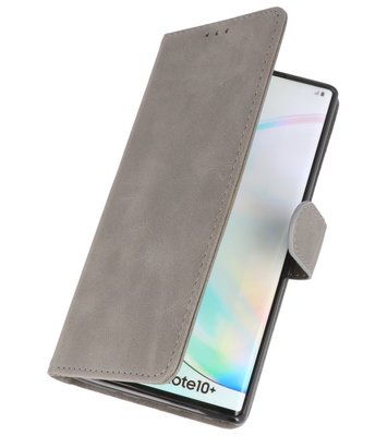 Bookstyle Wallet Cases Hoes voor Samsung Galaxy Note 10 Plus Grijs
