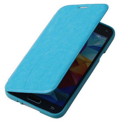 Bestcases Turquoise TPU Book Case Flip Cover Motief Samsung Galaxy S5