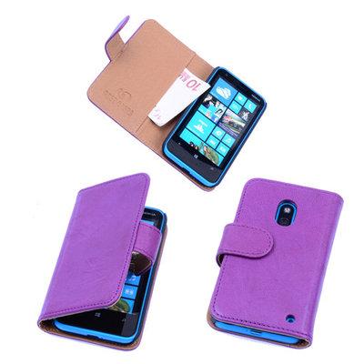 BestCases Luxe Echt Lederen Booktype Hoesje voor Nokia Lumia 620 Paars