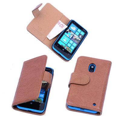 BestCases Luxe Echt Lederen Booktype Hoesje voor Nokia Lumia 620 Bruin