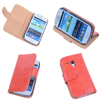 Bestcases Vintage Oranje Book Cover Hoesje voor Samsung Galaxy S3 Mini i8190