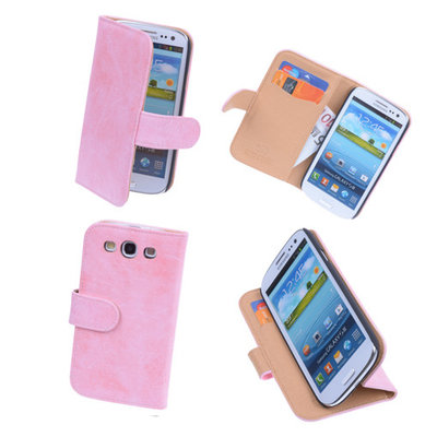 Bestcases Vintage Light Pink Book Cover Hoesje voor Samsung Galaxy S3 i9300