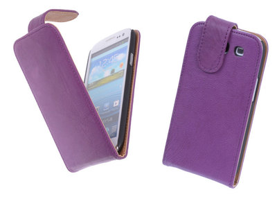 BestCases Luxe Kreukelleer Flipcase Hoesje voor Samsung Galaxy S3 Paars