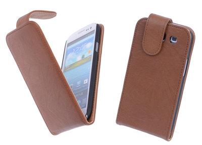 BestCases Luxe Kreukelleer Flipcase Hoesje voor Samsung Galaxy S3 Bruin