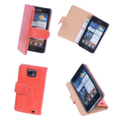 Bestcases Vintage Oranje Book Cover Hoesje voor Samsung Galaxy S2 Plus