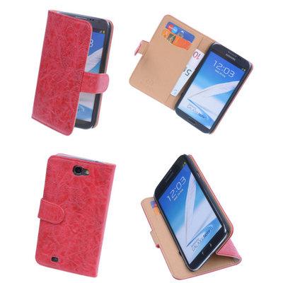 Bestcases Vintage Rood Book Cover Hoesje voor Samsung Galaxy Note 2