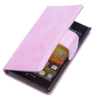 Bestcases Vintage LightPink Book Cover Hoesje voor LG Optimus L7 P700